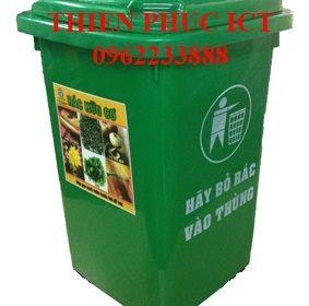 Thùng rác nhựa đặt cố định 70L-xanh