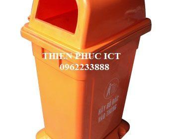 Thùng rác nhựa đặt cố định 95L-cam