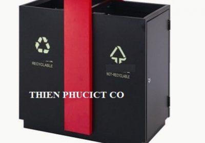 thùng rác đôi-ngoài trời-A58-L-THIENPHUCICT