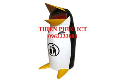 thùng rác đặt sân trường - hình chim cánh cụt